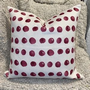 Burgundy & Taupe Dotted Linen Accent Pillow